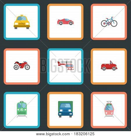 Flat Cab, Motorbike, Luxury Auto And Other Vector Elements. Set Of Vehicle Flat Symbols Also Includes Truck, Cab, Chopper Objects.