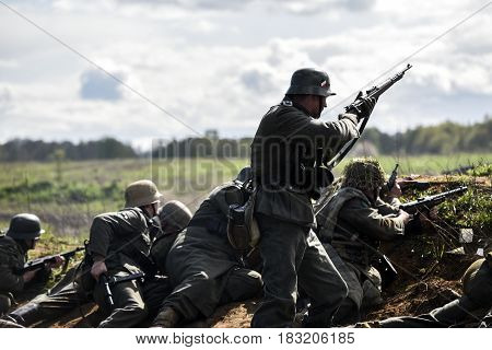 Rosowek Poland april 23 2017: German soldiers. Historical reconstruction soldiers fighting during World War II