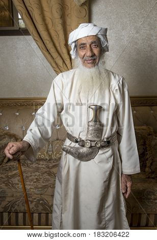 Nizwa Oman 26th May 2016: local man traditional outfit