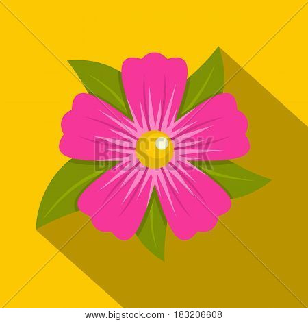 Pink petunia flower icon. Flat illustration of pink petunia flower vector icon for web on yellow background