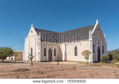 LADISMITH SOUTH AFRICA - MARCH 25 2017: The historic Evangelical Lutheran Church in Ladismith a small town in the Western Cape Province