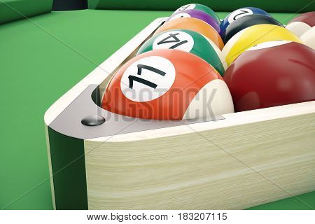 3D illustration American pool snooker balls background. American Billiard. Close-up Billiard balls. Bar game.