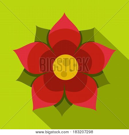 Amaranth flower icon. Flat illustration of amaranth flower vector icon for web on lime background