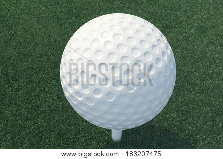 3D illustration Golf ball and ball in grass, close up view on tee ready to be shot. Golf ball top view