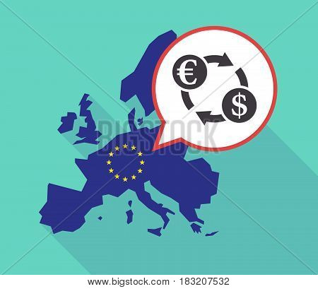 Long Shadow Eu Map With  An Euro Dollar Exchange Sign