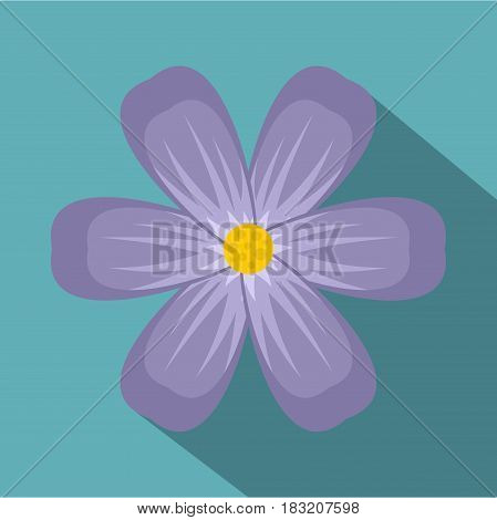Violet flower icon. Flat illustration of violet flower vector icon for web on baby blue background