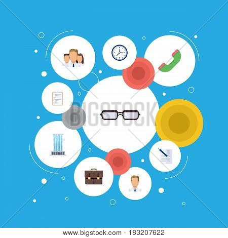 Flat Telephone, Group, Portfolio And Other Vector Elements. Set Of Job Flat Symbols Also Includes Pen, Document, Contract Objects.