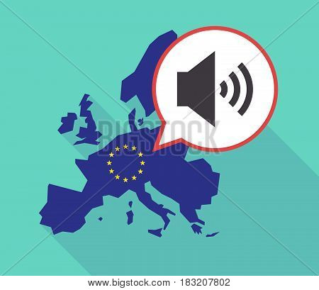 Long Shadow Eu Map With  A Speaker Volume Sign