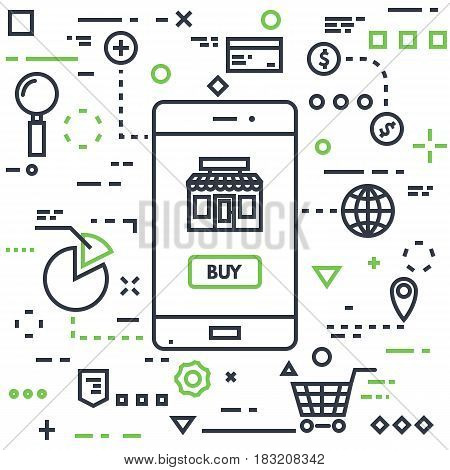 Mobile marketing concept. Line flat style vector illustration. Mobile phone with buy button and online store shop. Lines and dots on background. Cart magnifying glass coins money and other icons.