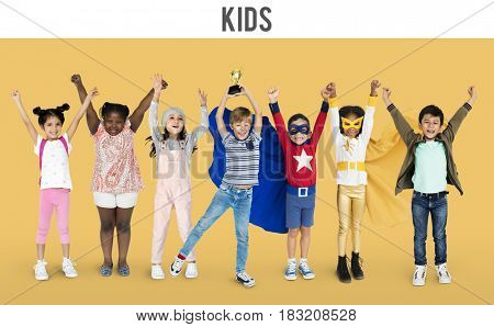 Diversity of Children Playful Cheerful Happiness Studio Isolated