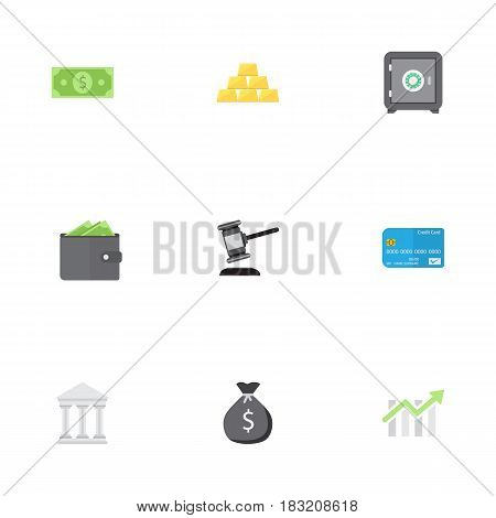 Flat Strongbox, Payment, Verdict And Other Vector Elements. Set Of Commerce Flat Symbols Also Includes Cash, Secure, Card Objects.
