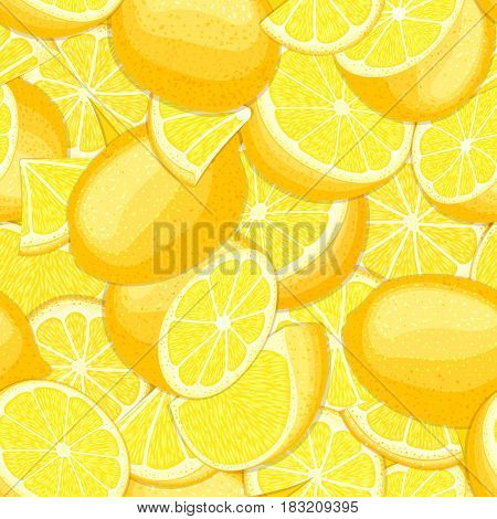 Ripe juicy tropical lemon background. Vector card illustration. Closely spaced fresh citrus yellow lime fruit peeled, piece of half, slice. Seamless pattern for packaging design healthy food diet juce