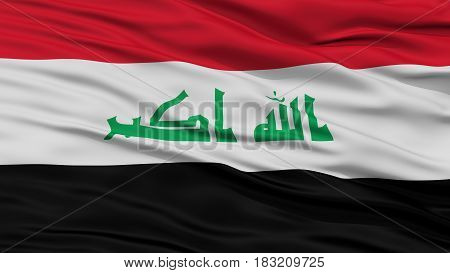 Closeup Iraq Flag, Waving in the Wind, High Resolution