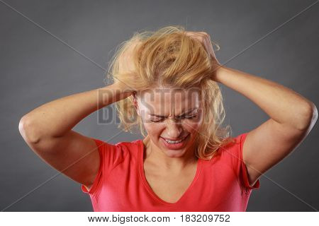 Stressed, Frustrated, Depressed Young Woman In Pain
