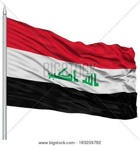 Iraq Flag on Flagpole , Flying in the Wind, Isolated on White Background