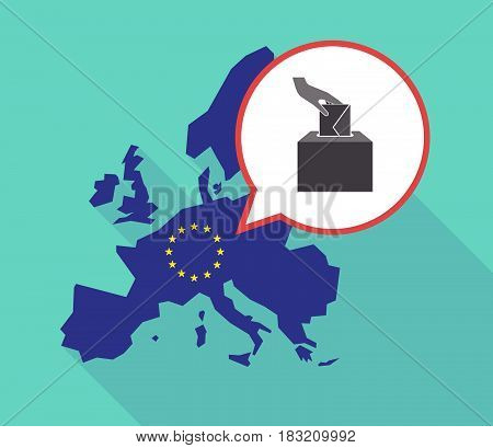 Long Shadow Eu Map With  A Hand Inserting An Envelope In A Ballot Box