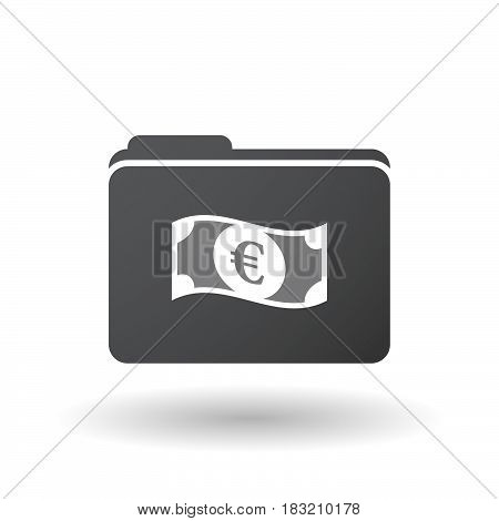 Isolated Folder Signal With  An Euro Bank Note