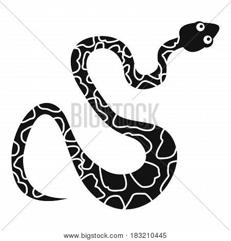 Black spotted snake icon. Simple illustration of black spotted snake vector icon for web