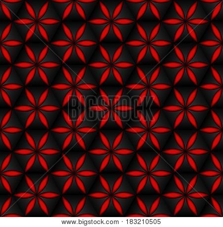 Floral seamless pattern red 3d volumetric flowers on the dark grunge background. Fabric print design element decoration volume effect.
