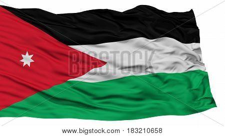 Isolated Jordan Flag, Waving on White Background, High Resolution