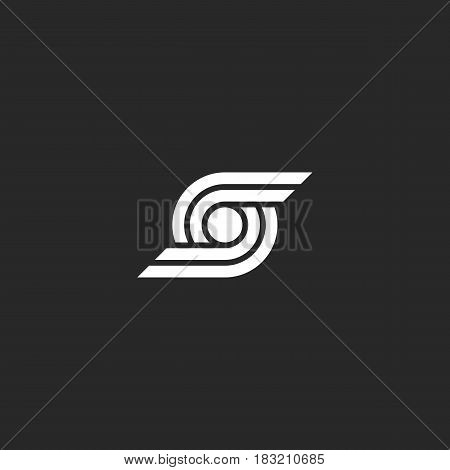 Letter S Logo Abstract Wings And Circle Geometric Shape Design Element Template, Technology Smooth L