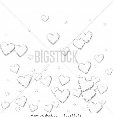 Cutout Paper Hearts. Bottom Gradient On White Background. Vector Illustration.