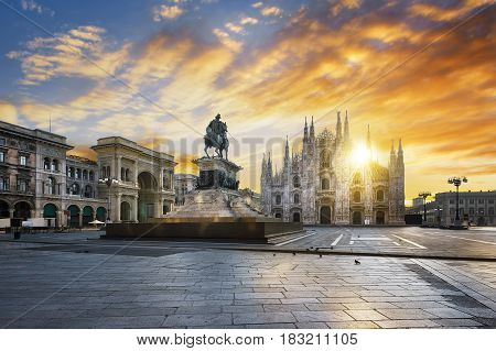 Famous Duomo at sunrise Milan, Italy, Europe.