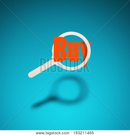 Search for goods services purchase. An icon of a magnifying glass hovers in the air casting a shadow on blue background. The word
