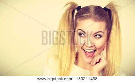 Happy Blonde Teenager Girl With Ponytails