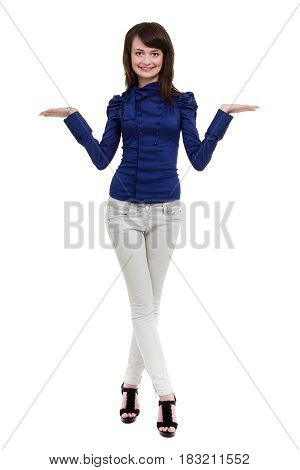Full length portrait of a happy thoughtful woman holding copyspace on the palm isolated on a white background