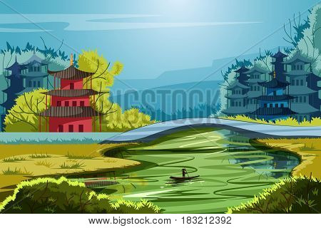 vector illustration of beautiful scenic landscape of rural China