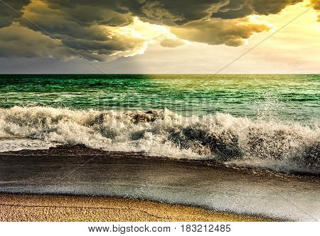 Sea storm landscape nature with sunbeam seascape ray cloud storm and sky