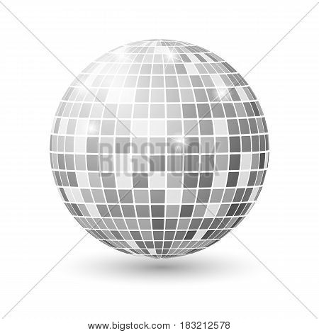 Disco ball isolated illustration. Night Club party light element. Bright mirror silver ball design vector template.