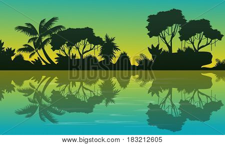 Silhouette of forest with reflection landscape vector art