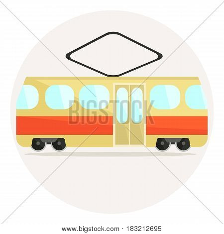 Cute colorful flat vector tram icon, beige and red streetcar icon
