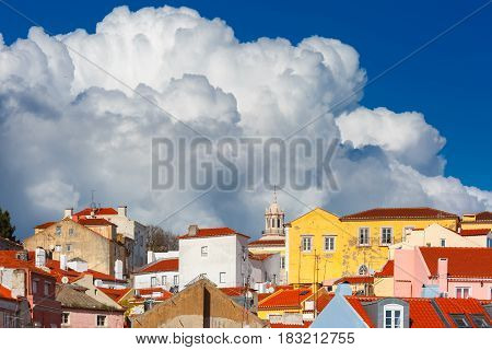 View of Alfama, the oldest district of the Old Town on the sunny afternoon, Lisbon, Portugal