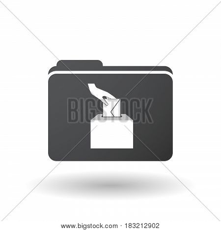 Isolated Folder Signal With  A Hand Inserting An Envelope In A Ballot Box