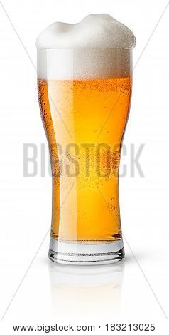 Light beer in sweaty glass isolated on white background