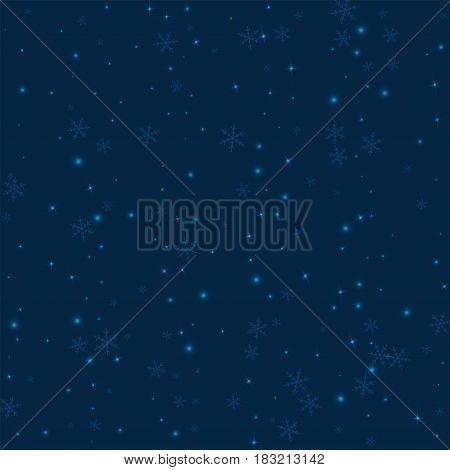 Sparse Glowing Snow. Scatter Vertical Lines With Sparse Glowing Snow On Deep Blue Background. Vector