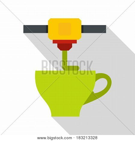 3D printer printing green cup icon. Flat illustration of 3D printer printing green cup vector icon for web on white background
