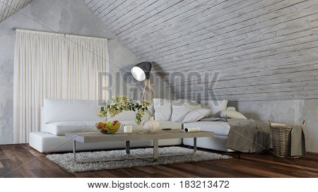 Sofa in living room of attic at night as interior design concept (3D Rendering)