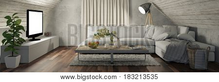 Panorama of living room with sofa and blank TV in attic as interior design concept (3D Rendering)