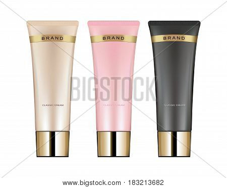 Cosmetic tube for cream gel liquid foam. Beauty product package vector illustration
