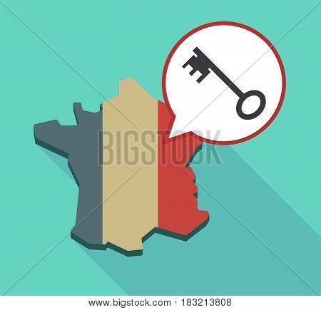 Long Shadow France Map With  A Vintage Key