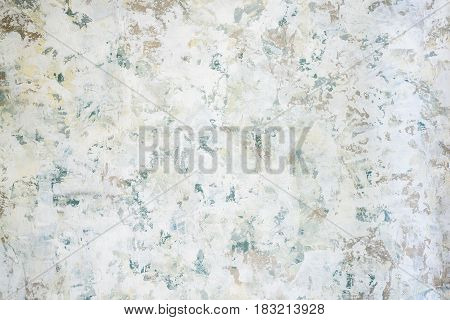 Wall in decorative putty white blue gray
