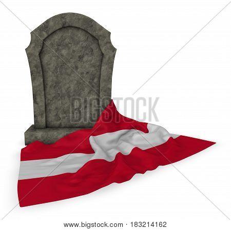 gravestone and flag of austria - 3d rendering