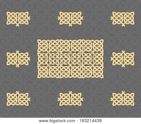 Celtic knots seamless pattern. The pattern is disassembled into parts. Vector illustration
