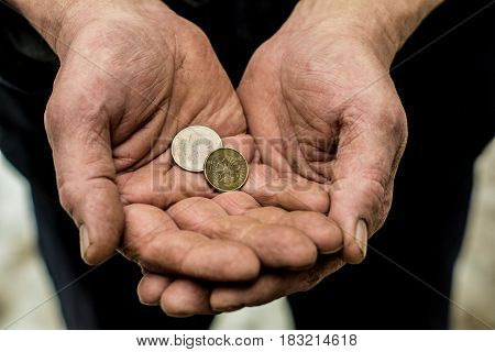 In the hands of man are different metal coins.