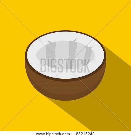 Half of coconut icon. Flat illustration of half of coconut vector icon for web on yellow background