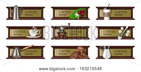Set of coffee banners, badges and stickers